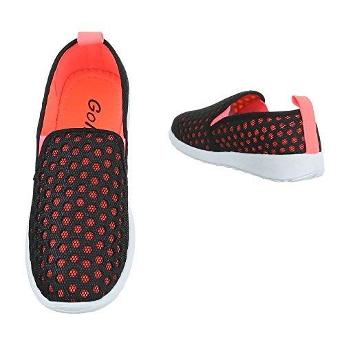Slipper Damenschuhe Low-Top Stretch Ital-Design Halbschuhe Schwarz Coral