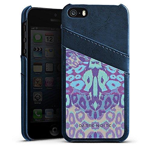 Apple iPhone 4 Housse Étui Silicone Coque Protection Léopards Motif Motif Étui en cuir bleu marine