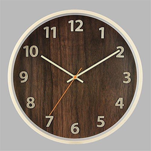 Wall Clocks Wanduhr Uhren Wecker Uhr Haushalt Pendeluhr 14-Zoll-Massivholz digital Stille nicht tickende Batterie betrieben Runde einfach zu lesen Wohnzimmer Esszimmer Café und Bar Eisen Schlafzimmer Uhr braun - Toskana-altes Eisen