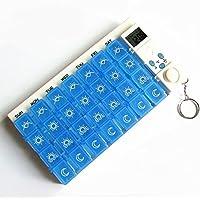Preisvergleich für Putwo 7 Tage Tablettenbox mit Alarm Pillendose mit 28 Fächern Pille Reminder, Blau