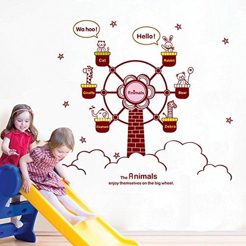 le style de grande roue en forme de moulin vent avec des animaux autocollant mural