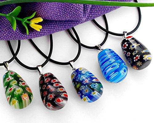 Preisvergleich Produktbild Skyllc® 10 Teardrop Millefiori Glas Murano Lampwork Halskette Anhänger mit Clipper für Frauen