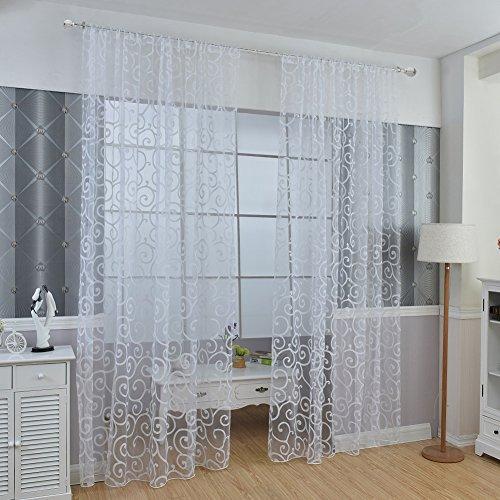 Wingogo Flocked Voile Tür Fenster Vorhang Balkon Sheer Panel Bildschirm Vorhänge Tür Fenster Dekor (Sheer Vorhänge Weiß)