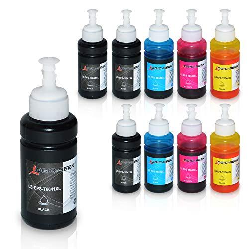 10 Tintenpatronen kompatibel für Epson EcoTank ET-2650 L300 L350 L355 L365 L455 L550 L555 L565 L655 L100 L200 ET2550 ET2500 ET4500 ET4550 T6641 T6642 T6643 T6644, je 70ml -