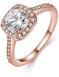 Amour Eternel Bague Femme 18K Or Plaqué Zircon Cubique Diamant Bague de Fiançailles Bague d'anniversaire Alliance de Mariage