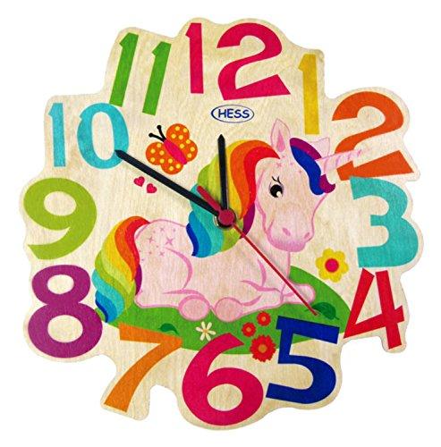 Hess Holzspielzeug 30005 Kinderwanduhr Einhorn aus Holz, Durchmesser 21 cm
