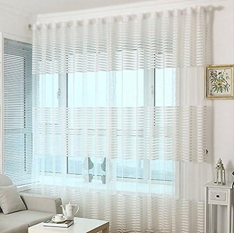 Bellabrunnen Elegant Streifen Vorhang Schal TOP QUALITÄT Gardine für Wohnzimmer Schlafzimmer 2er-Pack -Weiß