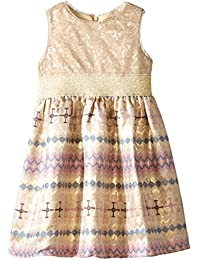 Us Angels Little Girls' Dress Sequin Top with Printed Brocade Skirt