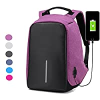 CHIKIENCALL Anti-theft Travel Backpack Laptop Bag with USB Charging Port Large Capacity Waterproof Light-Weight Luminous School Bag for College Student Work Men & Women