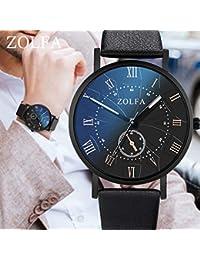 Webla - Reloj Para Hombre: Correa de Cristal de Cuarzo Azul Para Hombre, Elegante