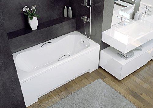 EXCLUSIVE LINE Badewanne Wanne Rechteck Premium 130x70 cm mit Schürze Ablaufgarnitur Viega Simplex im SET