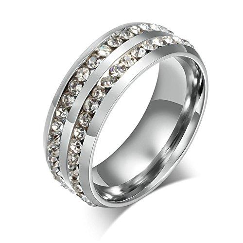 Sanjiu gioielli in acciaio INOX anello unisex forma rotonda due file di fidanzamento zircone anello anniversario di matrimonio per uomo e donna argento, acciaio inossidabile, 19, colore: Silver, cod. SanJiushoushi121