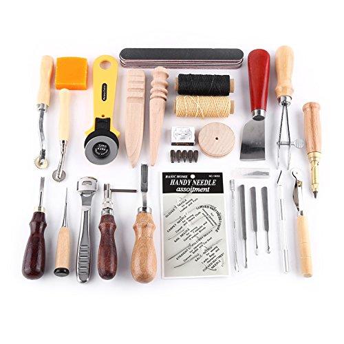 Leather Craft kit fai da te mano kit da cucito con sella cucitura Scanalatrice punteruolo punch filo cerato stamping set strumenti di lavoro in pelle e altri accessori