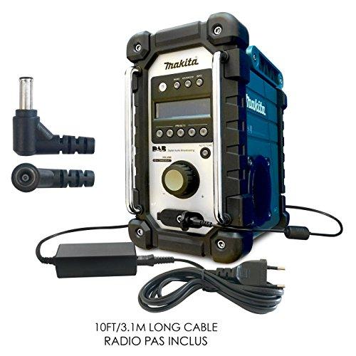 Compatible/Remplacement Makita Radio 12V / 12 Volt DC Adaptateur Secteur Mur Cable Pour BMR100, BMR100W, BMR101, BMR101W, BMR102, BMR102W, BMR103, BMR103B, BMR103Z, BMR104, BMR104W, BMR105, BMR105W, LXRM02, LXRM03, LXRM03B Job Site / Analogue / DAB Digital Radio