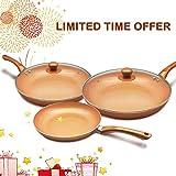 KUTIME 3pcs Antihaft-Pfanne mit Deckeln Kupfer Kochgeschirr Keramik Keramikpfanne Anti-Scratch Bratpfanne, Pfannkuchenpfanne für Health Food