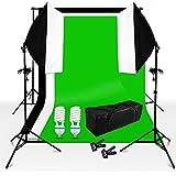 Kit d'éclairage continu studio photo video, softbox kit boîte à lumière 50x70cm monture universel orientable, fond toile de studio Noir Blanc Vert vinyl non-tissé et support de fond