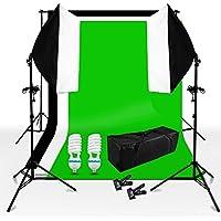Kit d'éclairage continu softbox kit boîte à lumière 50x70cm pour studio photo video monture universel orientable + support de fond + 1.6x3m fond toile de studio Noir Blanc Vert non-tissé