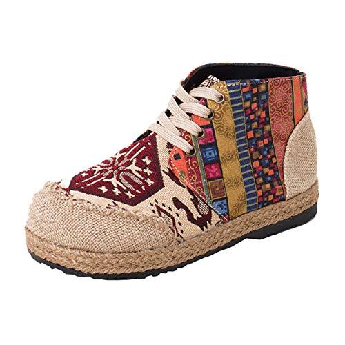 Zapatos de Mujer Zapatos de Cordones Plano e Cerrados Estilo Etnico Za