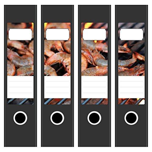 4 x Akten-Ordner Etiketten/Aufkleber/Rücken Sticker/mit Design Motiv Garnelen Grill Urlaub Essen/für breite Ordner/selbstklebend / 6cm breit (Urlaub Essen)