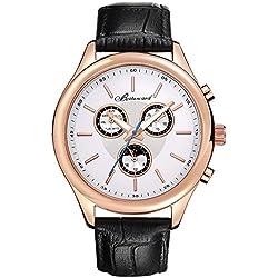 Men's style leather strap watch/Sports waterproof watch/Business mens watch-A