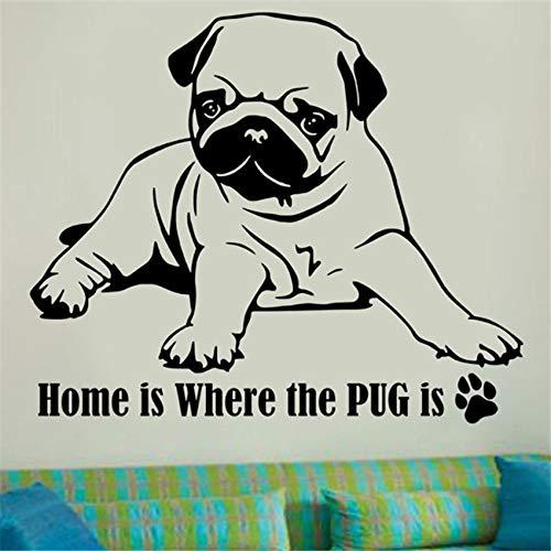 haotong11 Poster mops Hund niedlich wandkunst abziehbilder abnehmbare wasserdichte Vinyl wandaufkleber wohnkultur Tiere Wand dekor 70 * 58 cm -
