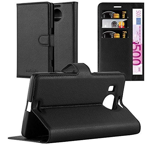 Cadorabo Hülle für Nokia Lumia 950 XL - Hülle in Phantom SCHWARZ - Handyhülle mit Kartenfach & Standfunktion - Case Cover Schutzhülle Etui Tasche Book Klapp Style