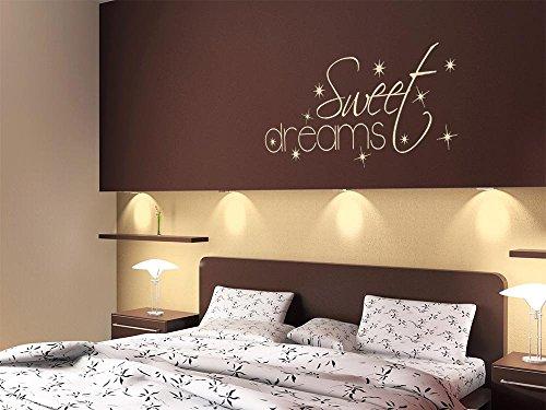 GRAZDesign Wandaufkleber Wanddeko Schriftzug Wand, Hochzeitsgeschenke für Schlafzimmer Sweet Dreams, Wandtattoo Sterne romantisch / 90x40cm / 081 Hellbraun