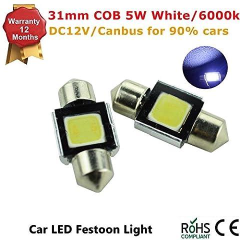 4 Pcs High Power 3W White 31mm COB LED Festoon Bulbs For Car Dome Map Lights DC12V