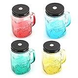 Hokshell Ice Cold Mason Jar Saftflasche mit Strohhalmen, 425 ml, Lieferung erfolgt zufällige Farbe