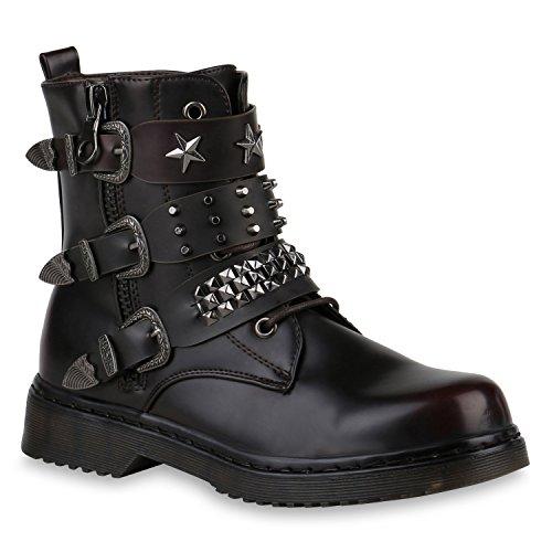 Damen Stiefeletten Outdoor Biker Boots Nieten Schuhe 147130 Dunkelrot Nieten 37 Flandell