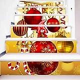 TIEZHI Einzigartig Kreativ Treppenhaus Aufkleber 3D Luxuriös Rot Weihnachtskugeln DIY HD Wasserdicht Wandgemälde Gang Dekorativ PVC Wandtattoo , 1 Set 6 pcs , 100*18cm