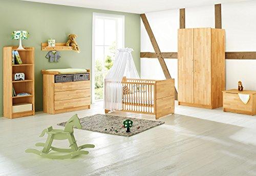 Kinderzimmer Natura breit, 3-teilig, Kinderbett (140 x 70 cm), breite Wickelkommode mit Wickelansatz und Kleiderschrank, Buche massiv, geölt (Art.-Nr. 10 21 74B)
