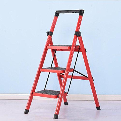 Drei vier Schritte Hocker Haushalt Klappleiter Dual Use Indoor Küche rutschfeste (Farbe : Rot, größe : 3-Step)
