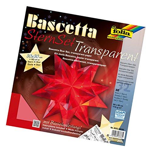 folia 820/3030 - Bastelset Bascetta Stern, Transparent rot, 30 x 30 cm, 32 Blatt, fertige Größe des Papiersterns ca. 40 cm, mit ausführlicher Anleitung - ideal zur zeitlosen Dekoration