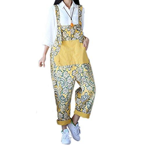 SiDiOU Group Damen Casual Printed Baggy Hose Weite Bein Latzhosen Baumwolle Spielanzug Jumpsuit Spielanzug Stil 5-Gelb