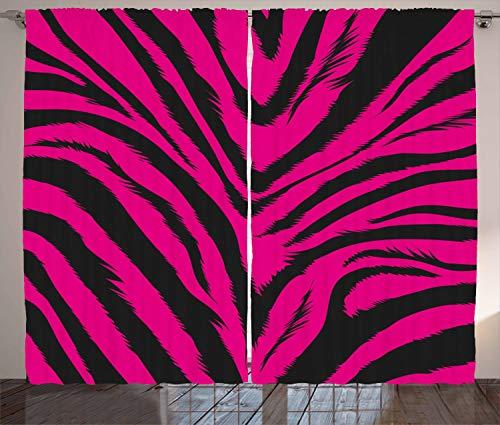 ABAKUHAUS Teen Zimmer Rustikaler Gardine, Pink Zebra Haut, Schlafzimmer Kräuselband Vorhang mit Schlaufen und Haken, 280 x 225 cm, Magenta und Schwarz Pink Zebra Haut