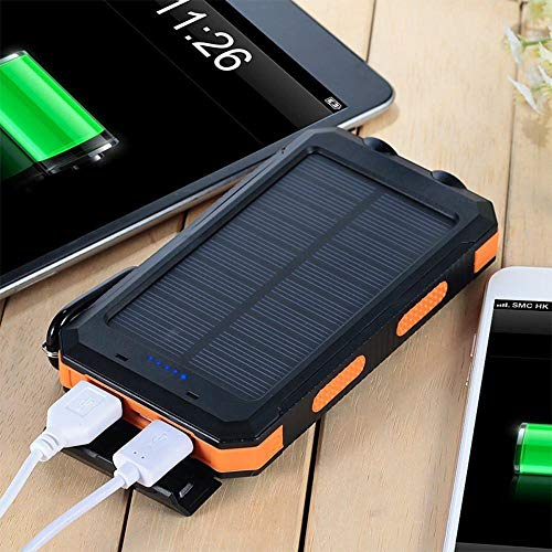 Solar Power Financial institution, Zowam 20000mlAh Portable Solar Phone Charger External Backup Solar Panel with Dual USB Ports Outdoor LED Flashlight and Compass Image 4