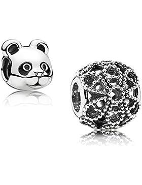 Original Pandora Geschenkset - 1 Silber Charm Rosen 791282 und 1 Silber Charm Friedlicher Panda 791745EN16