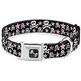 Buckle Down 38,1–66cm Skulls & Stars schwarz/weiß/Hundehalsband Pink Bone, groß