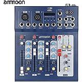 ammoon F4-USB 3 Kanal Digital Mikrofon Line Audio Mixer Mischkonsole mit 48V Phantomspeisung für Recording DJ Bühne Karaoke Musik Wertschätzung