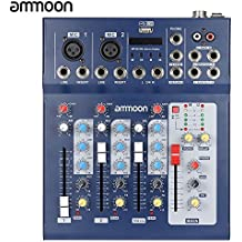 ammoon Audio de Mezcla Mezclador Consola F4-USB 3 Canales Digitales de Micrófono de Línea con 48 V de Alimentación Phantom para la Grabación de DJ Etapa Música Karaoke Valoración