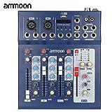ammoon Console de Mixage Table de Mixage 3 Canaux Mic Ligne Numérique Audio Mixeur F4-USB avec 48V Alimentation pour Enregistrement DJ Karaoké