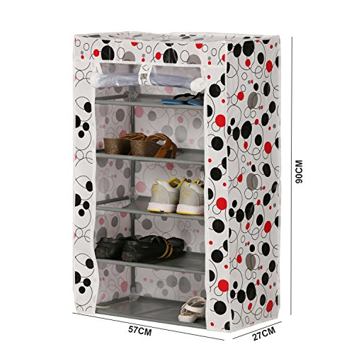 Kurtzy Shoe Rack Tower Cabinet Storage Organizer For Home & Office 5 Tiers (57X27X90cm)