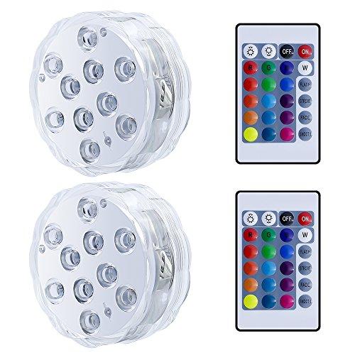 Allescool Unterwasser Licht Wasserdichte LED Teichbeleuchtung mit Fernbedienung,RGB Multi Farbwechsel LED Leuchten für Vase Base,Aquarium,Badewanne,Pool, Party Dekoration,2 Stücke (Sinken)
