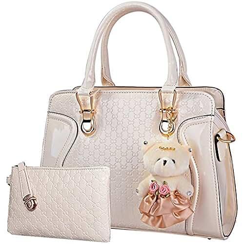 bolsos para el dia de la madre Coofit Bolso de cuero de patente de la bolsa de mensajero de las señoras + Bag + Pequeño llavero del oso + postal