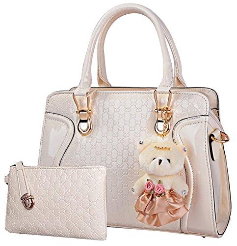 Coofit Moda Borse Donna Messenger Bag Borse in Pelle Tote Borsa Style Borsetta + Small Bag + Orso Portachiavi + Cartolina