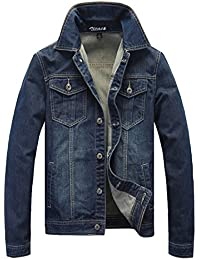 Zicac Homme Printemps été coton poche bouton slim fit Blazer à manches longues Denim Jeans Jean Parka Top Coat Trucker Veste