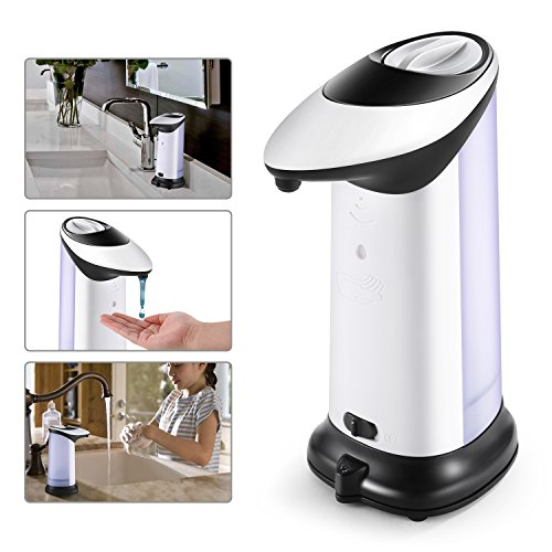 Automatic Soap dispenser, HOMTOYOU 400ML Hand Soap Dispenser, Touchless Hands-Free Motion Sensor Liquid Soap Dispensers Powered by 4PCS AAA (Not Include) with Waterproof Base for Kitchen and Bathroom