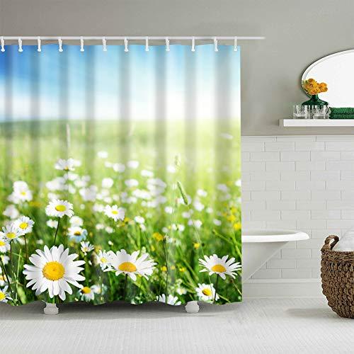 fdswdfg221 Blauer Himmel und weiße Wolken, endloses grünes Gras, weiße Blütenblätter, gelbe Blume, feuchtigkeitsbeständiger Mehltau-Badezimmervorhang 180X180CM + 12 Haken des Digitaldrucks 3D (Ist Blau, Ist Gras Himmel Halloween Grün)