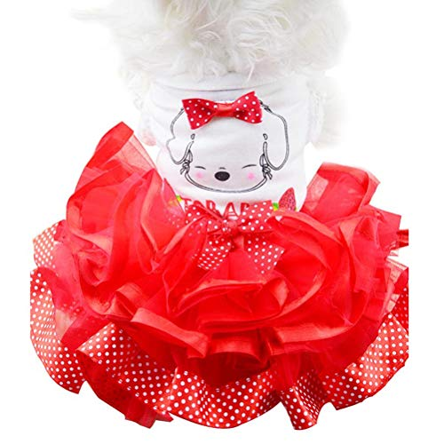 Pet Dogs Cat Kleidung Niedlichen Punkt Bogen Tutu Rock Cartoon Puppy KostüM Princess Wedding Dress (Die Wie Superman Ist Groß)
